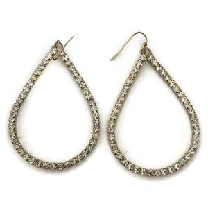 Rhinestone and Gold Tear Drop Earrings